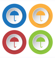 set of four square icons with umbrella vector image vector image
