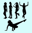 sexy girls and sport activity silhouette vector image vector image