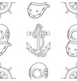 ship equipment seamless pattern vector image vector image