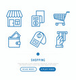 shopping e-commerce thin line icons set vector image