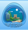 time to travel concept motor yacht at sea hotel vector image vector image