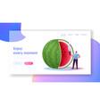 tiny character eat huge ripe watermelon landing vector image