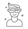 vr game thin line icon game and virtual vr vector image vector image