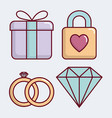 wedding related icons vector image