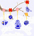 Winter branch with Christmas trimmings faience vector image