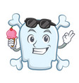 with ice cream skull character cartoon style vector image