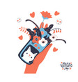 woman hand holding smartphone with congrats vector image