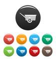 wood wheelbarrow icons set color vector image vector image