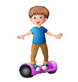 young boy riding a electric scooter vector image