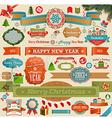 Christmas set - vintage ribbons vector image