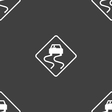 Road slippery icon sign Seamless pattern on a gray vector image
