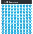 100 beach icons vector image vector image