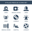9 rescue icons vector image vector image