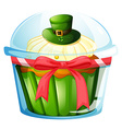 A cupcake inside the transparent container vector image vector image