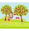 A little girl collects apples in sunny day vector image