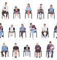 adults and children sitting on chairs and waiting vector image vector image