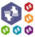 baby socks icons set hexagon vector image vector image