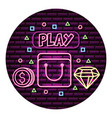 bag coin and diamond neon video game wall vector image