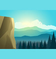 beautiful landscape mountain and pine trees vector image