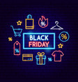 black friday sale neon concept vector image