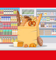 bread products in shopping mall vector image vector image