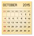 calendar 2015 10 October vector image vector image
