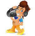 cartoon boy with boombox eps 10 vector image vector image
