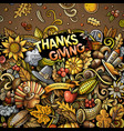 cartoon doodles happy thanksgiving day frame vector image