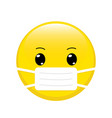 cartoon emoji with mouth mask vector image