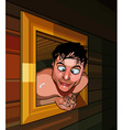 cartoon man climbed out of the window and funny vector image vector image