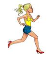 cartoon woman in high heels running side view vector image vector image
