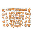 christmas and new year gingerbread alphabet and vector image vector image