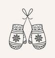 christmas mittens vector image vector image