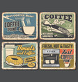 coffee drink cup espresso machine beans and pot vector image vector image