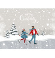 couple winter rink vector image vector image