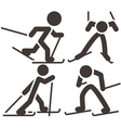 Cross country skiing icons vector image