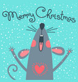 cute gray rat wishes merry christmas postcard vector image vector image