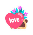 dog with bouquet flowers and pink heart cute vector image vector image