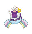 fairytale magic hat with rabbit ears and book vector image