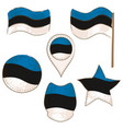 flag of estonia performed in defferent shapes vector image