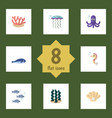 flat icon sea set of alga tuna conch and other vector image vector image