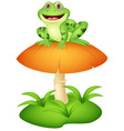 Funny frog sitting on mushroom vector image vector image