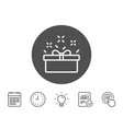 gift box line icon present sign vector image