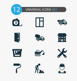 industry icons set collection of cement vehicle vector image