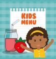 kids menu girl juice nutrition vector image vector image