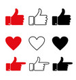 like and heart icon hand with thumb up vector image