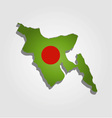 Map of Bangladesh with in red and green colors vector image vector image