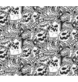 monochrome pattern with pumpkins vector image