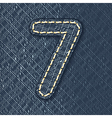 Number 7 made from jeans fabric vector image vector image