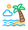 ocean view with palm icon outline vector image